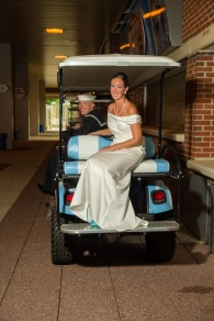 Carolina Club, Chapel Hill, NC: Posing with a Tar Heel golf cart in Kenan Stadium