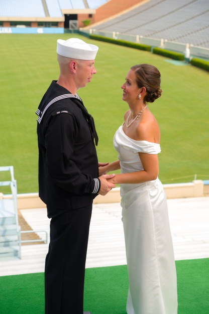 Carolina Club, Chapel Hill, NC: Wedding portrait from the band's stand in Kenan Stadium