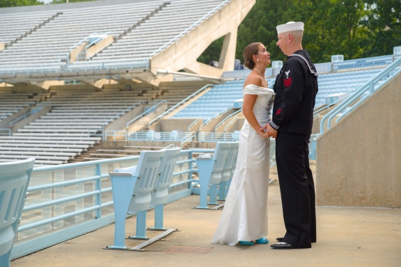 Carolina Club, Chapel Hill, NC: Bridal portraits in Kenan Stadium