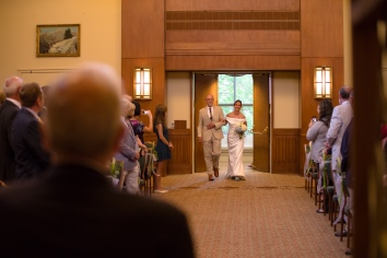 Carolina Club, Chapel Hill, NC: The bride arrives at her ceremony