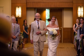 Carolina Club, Chapel Hill, NC: Father escorting the bride to the altar