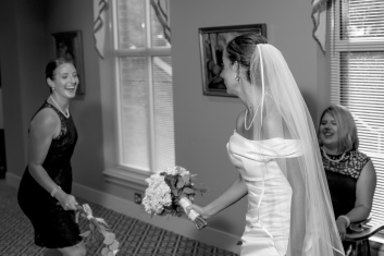 Carolina Club, Chapel Hill, NC: Jousting with a bridesmaid in the corridor before announcing the bridal party