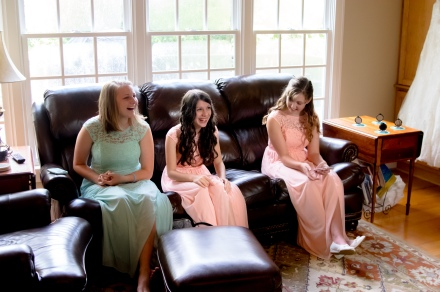 Christ Baptist Church Wedding, Raleigh NC: Bridesmaids waiting for the bride's makeup