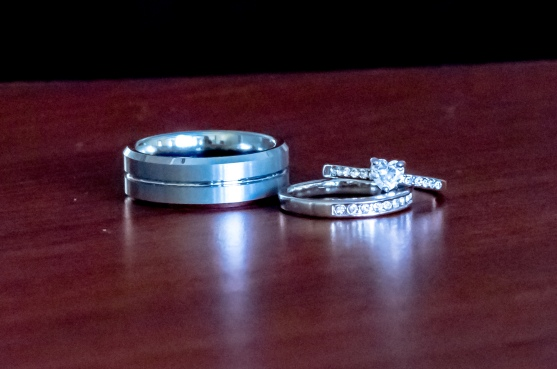 Christ Baptist Church Wedding, Raleigh NC: Wedding bands and engagement heart cut diamond.
