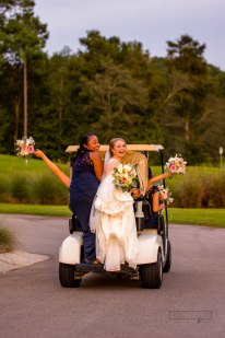 River Landing provided a golf cart for the bridal party to slip over to their amazing brick bridge for our formal portrait session. Rebecca and Kevin's wedding ceremony at River Landing Golf Club's main clubhouse was officiated by Lee Ann Politis. Lee Ann Politis is an officiant and premarital counselor serving most of North Carolina's eastern towns. Her website is: www.leeannpolitisbrunswickweddings.com/ River Landing provided the table and tablecloths for the unity candle, as well as a beautiful wooden arbor. The arbor was decorated with flowers by Flowers on Broadstreet, located in Fuquay Varina. River Landing is in Wallace, North Carolina. The ceremony music was played by a string quartet, Blue Sands Music. River Landing provides their own catering.